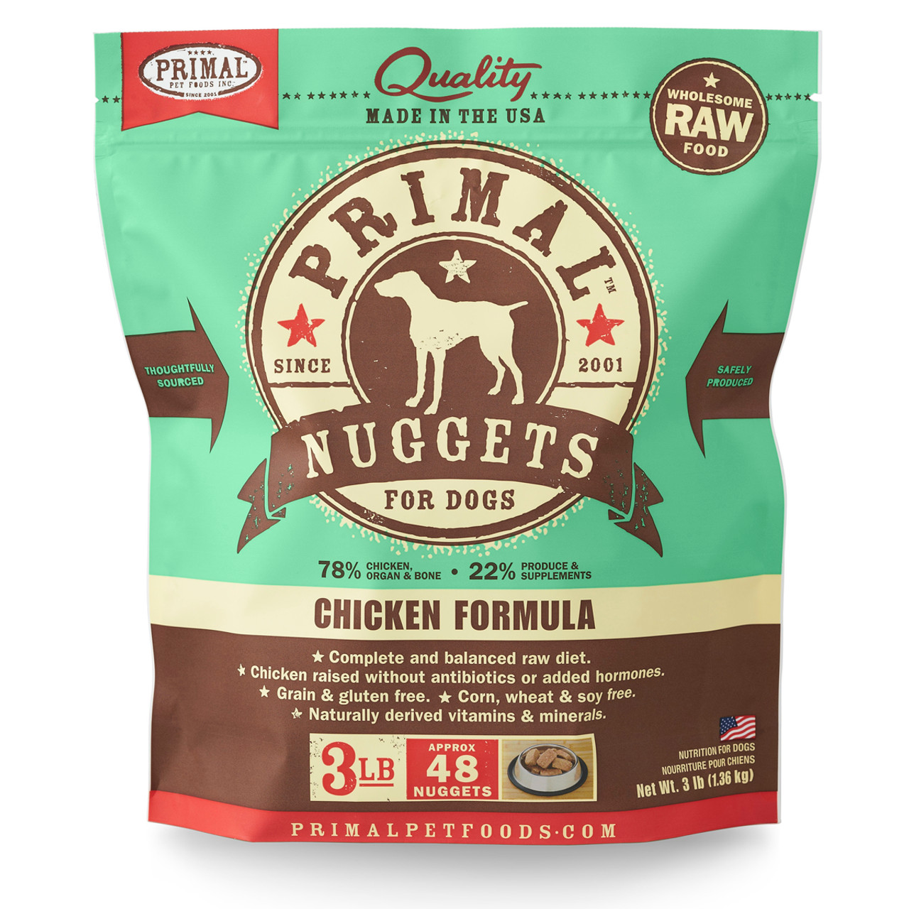 Primal Raw Frozen Canine Nuggets Chicken Formula Dog Food