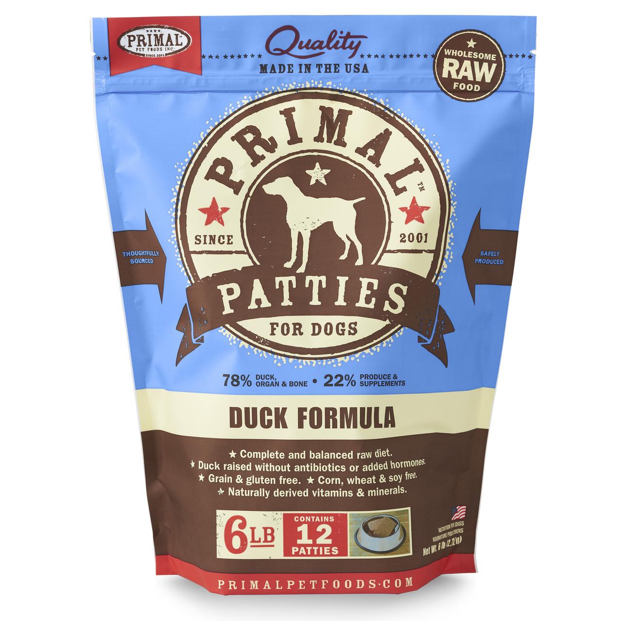 Primal Raw Frozen Canine Patties Duck Formula Dog Food