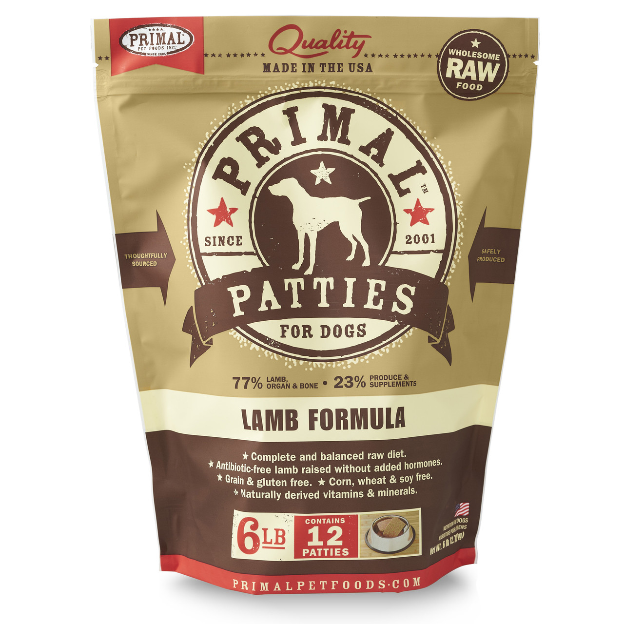 Primal Raw Frozen Canine Patties Lamb Formula Dog Food