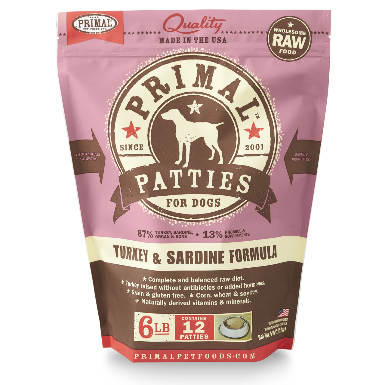 Primal Raw Frozen Canine Patties Turkey & Sardine Formula Dog Food