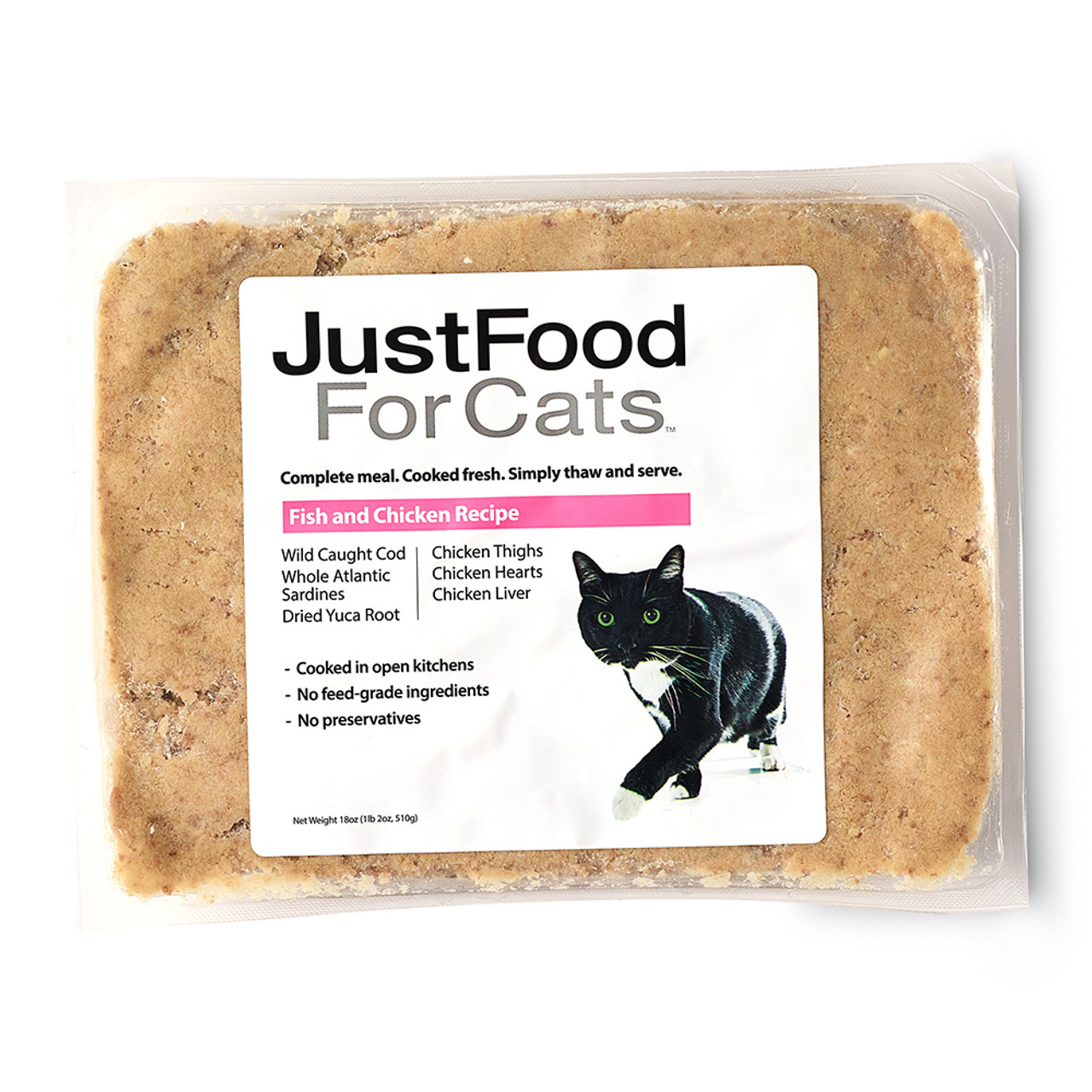 JustFoodForCats Fish & Chicken Recipe Frozen Cooked Cat Food