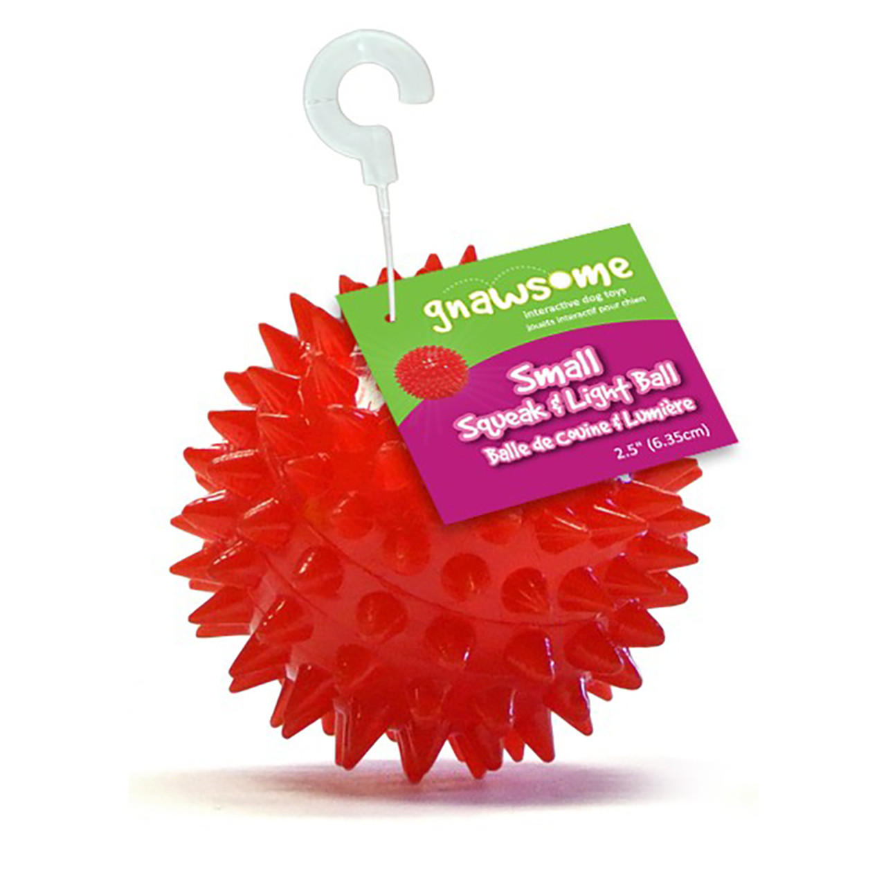 Gnawsome Squeak and Light Ball Dog Toy, Assorted Colors
