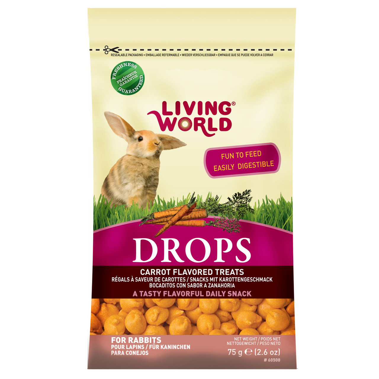Living World Drops Carrot Flavor Rabbit Treats