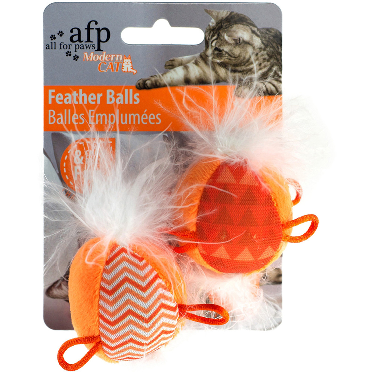 All For Paws Modern Feather Balls Cat Toy