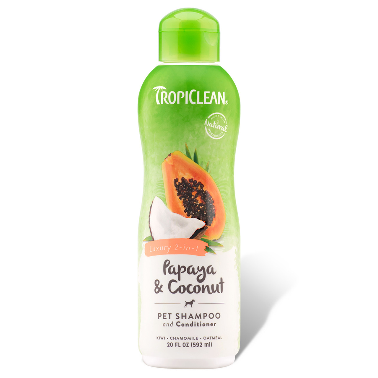 TropiClean Papaya & Coconut Luxury 2-in-1 Pet Shampoo & Conditioner