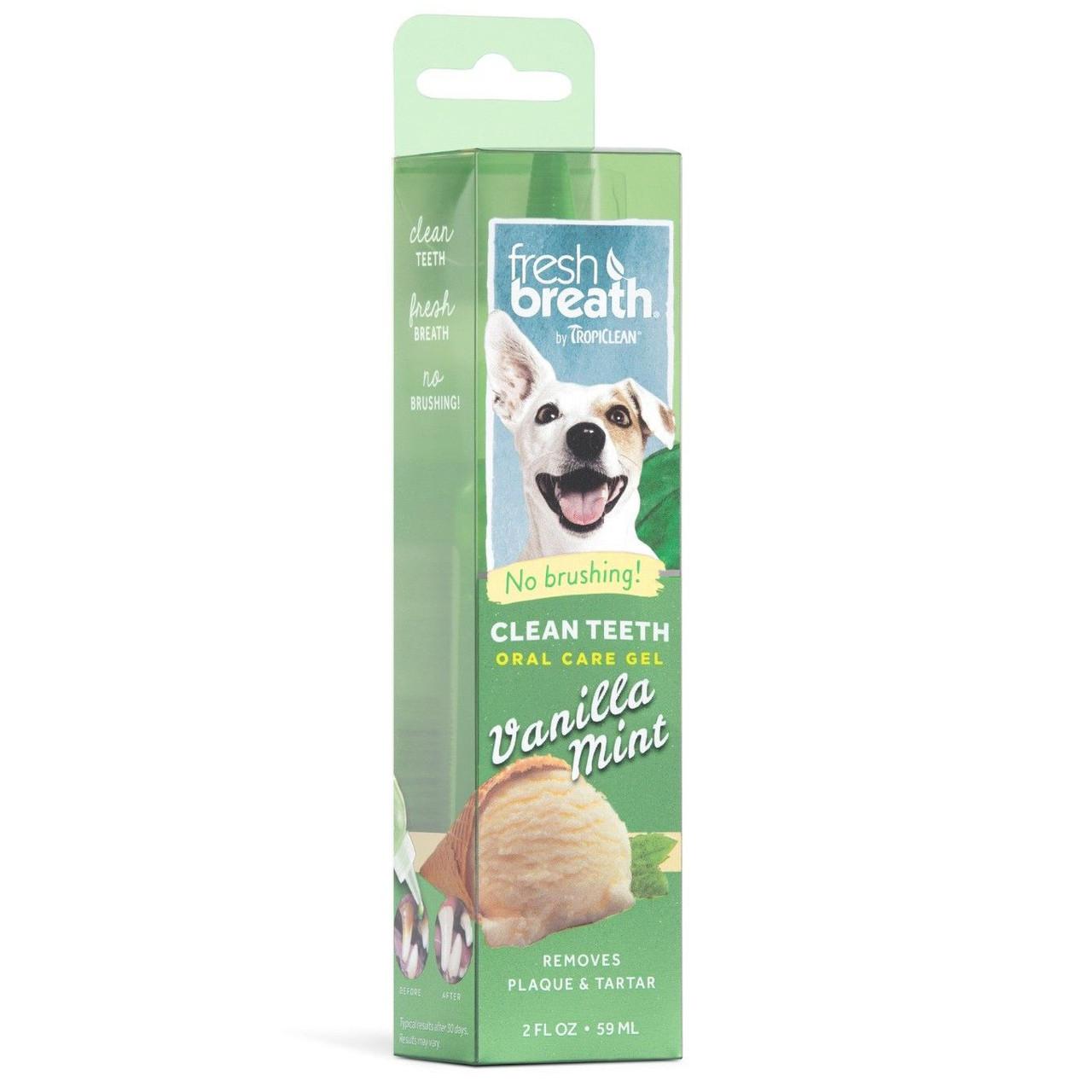Fresh Breath By TropiClean Vanilla Mint Dental & Oral Care Gel for Dogs