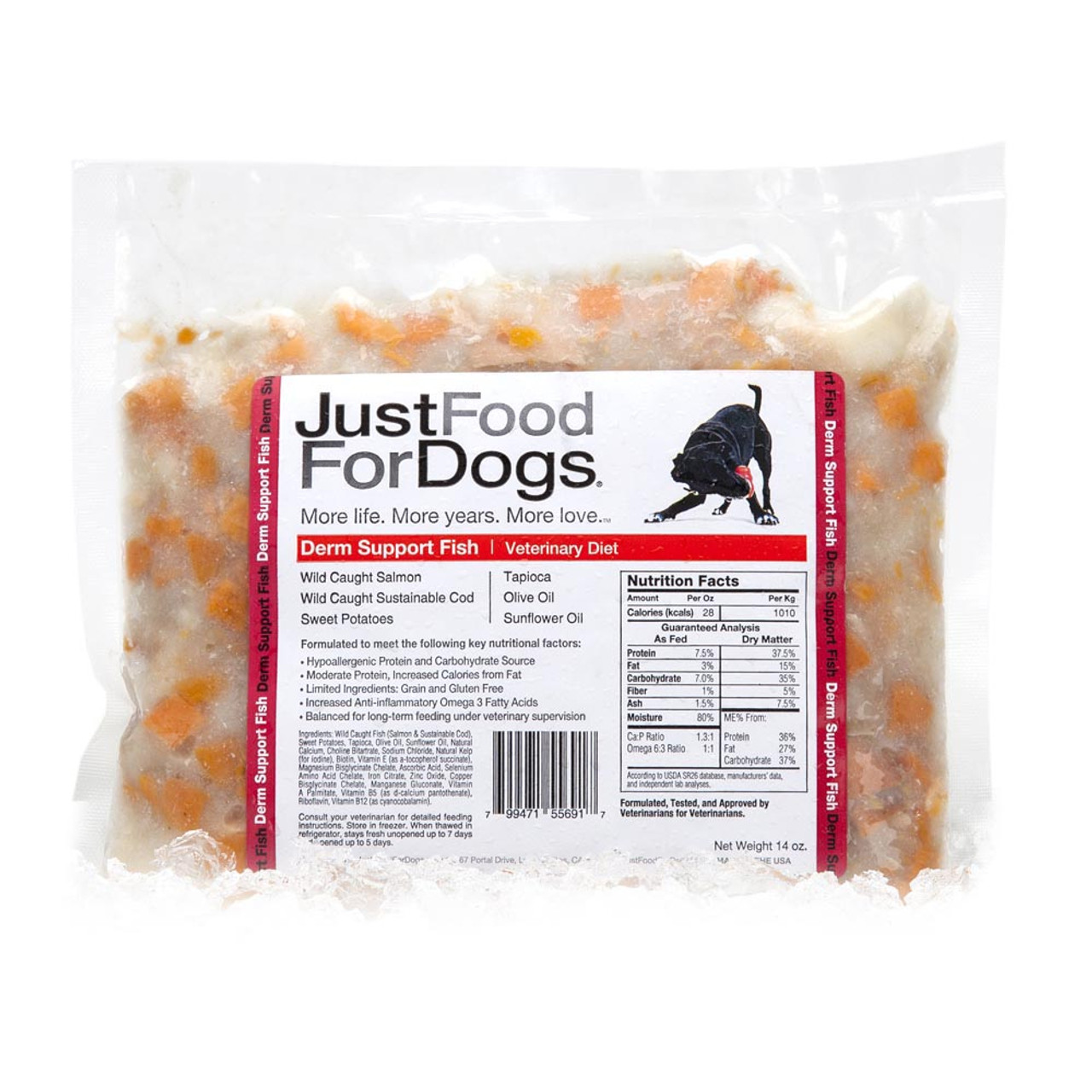 JustFoodForDogs Dermal Support Veterinary Fish Diet Dog Food