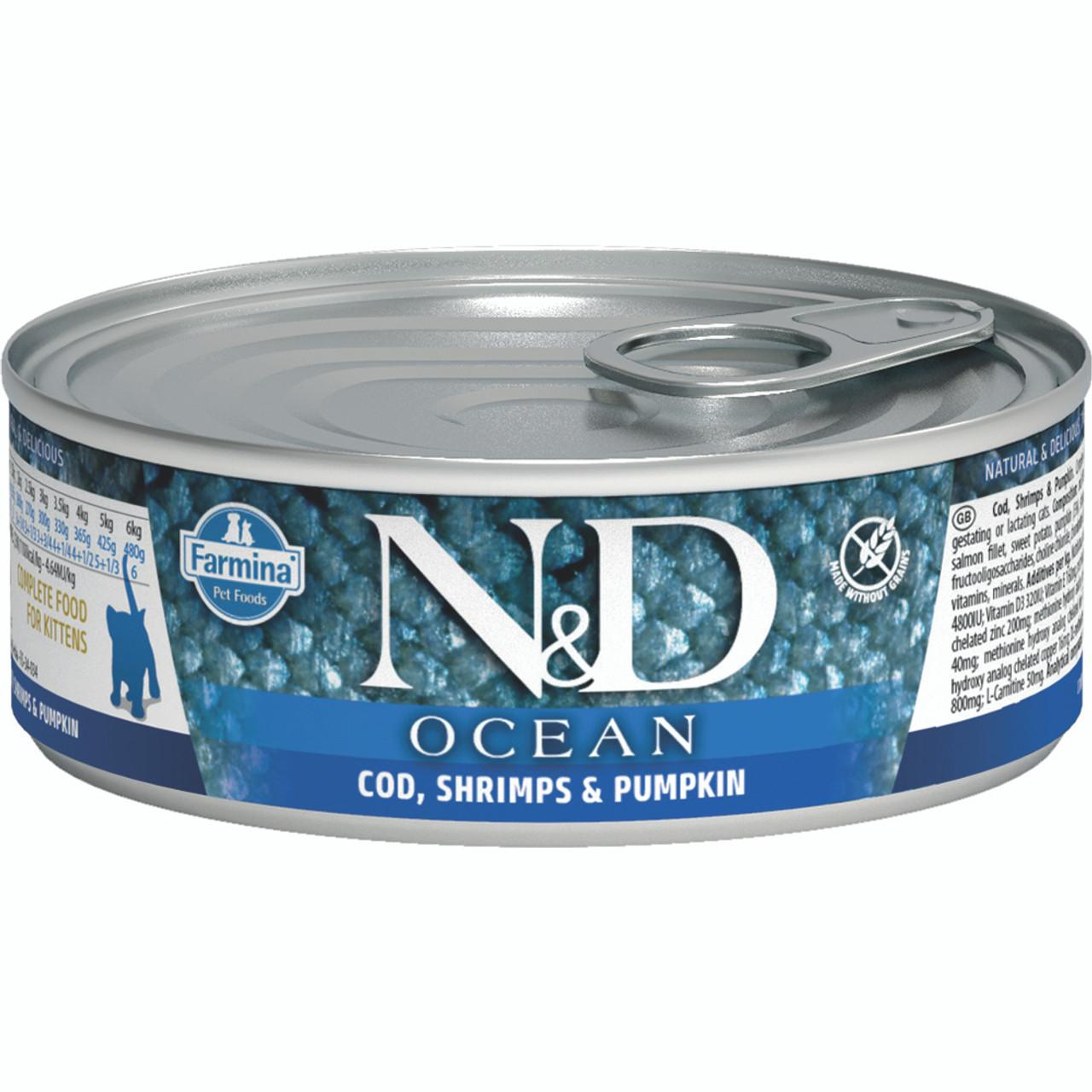 Farmina N&D Ocean Cod, Shrimp & Pumpkin Recipe Kitten Canned Cat Food