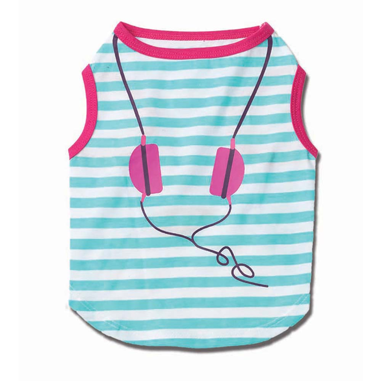 Petrageous Designs Headphones Striped Teal and Pink Graphic Tee for Dogs