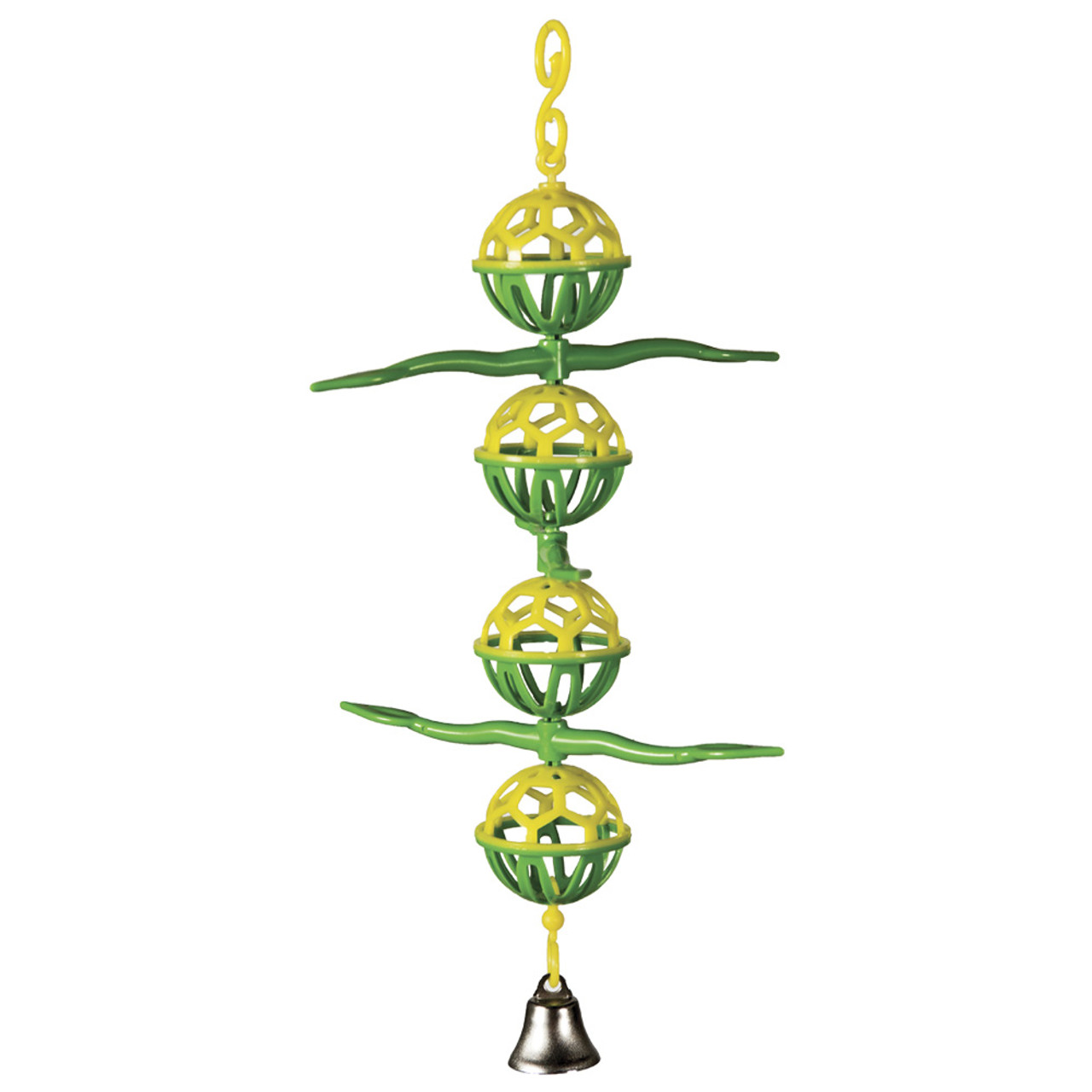 Featherland Paradise Lattice Ball With Perch and Bell Bird Toy