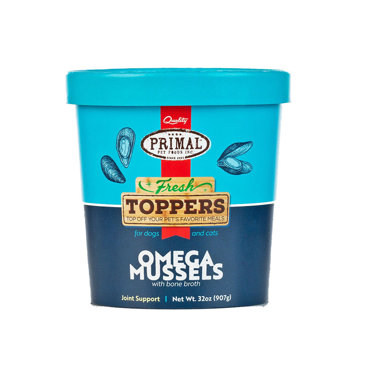 Primal Fresh Toppers Omega Mussel Whole Food Supplement for Dogs & Cats - Back