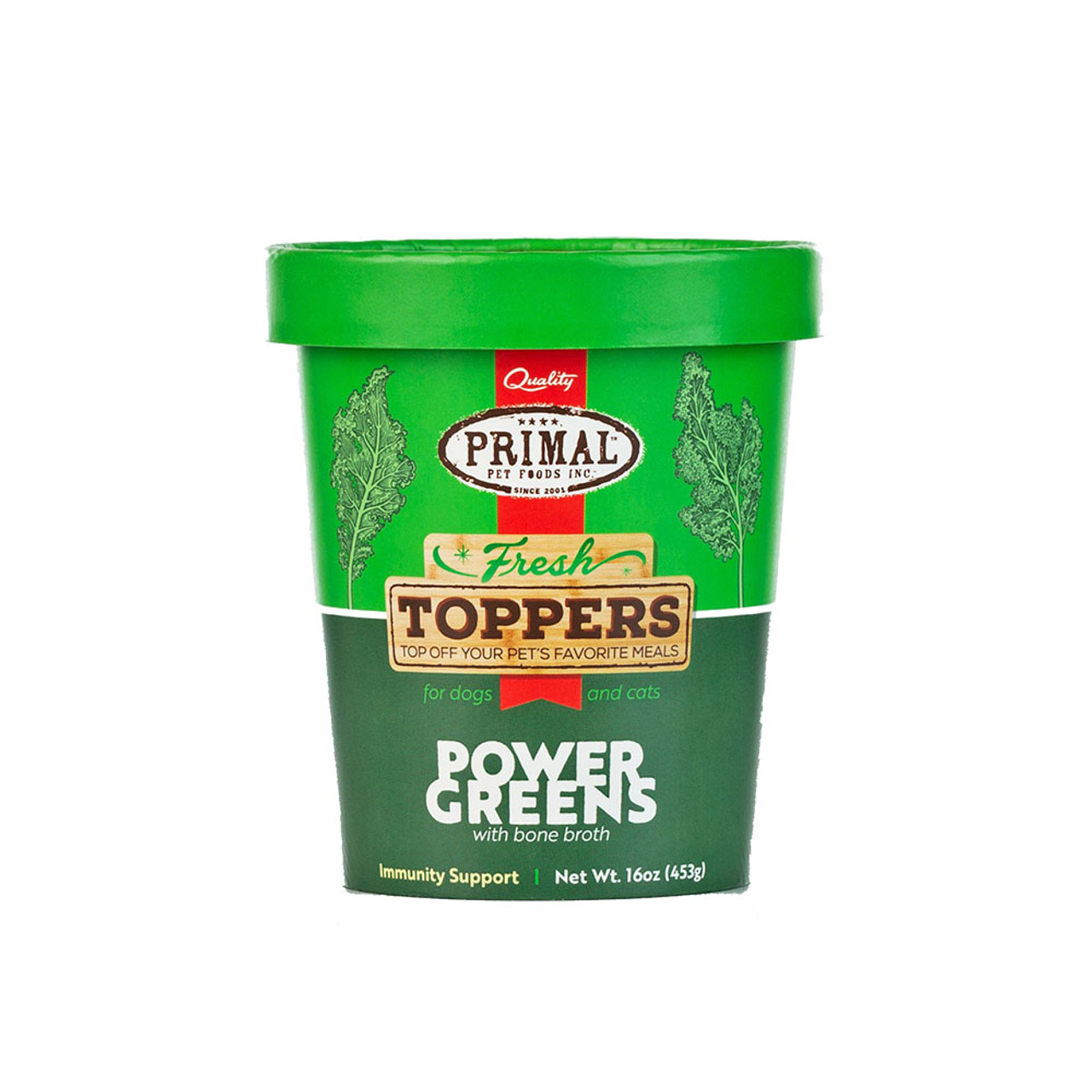 Primal Fresh Toppers Power Greens Whole Food Supplement for Dogs & Cats - Front