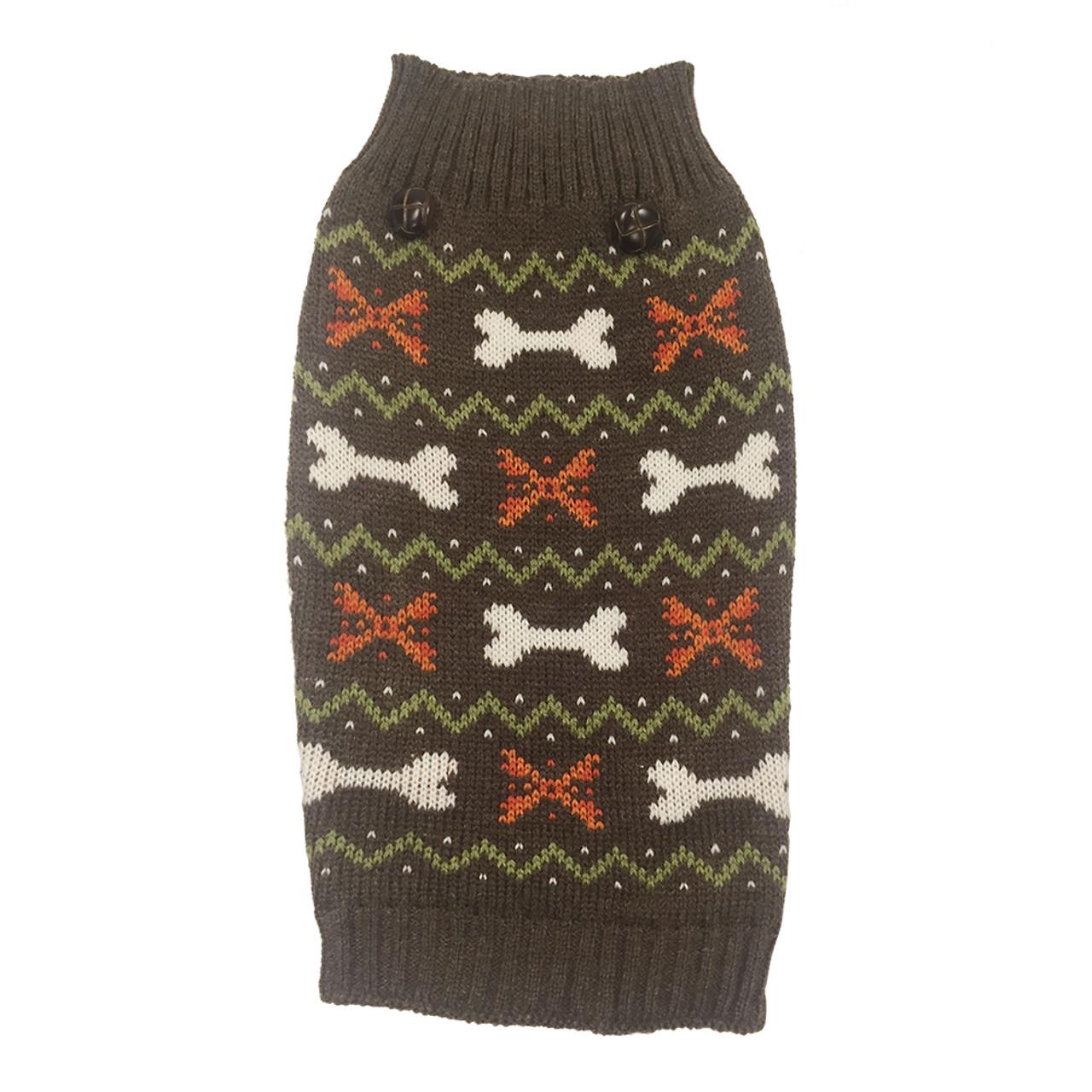 SimplyDog Brown Bone Fair Isle Dog Sweater
