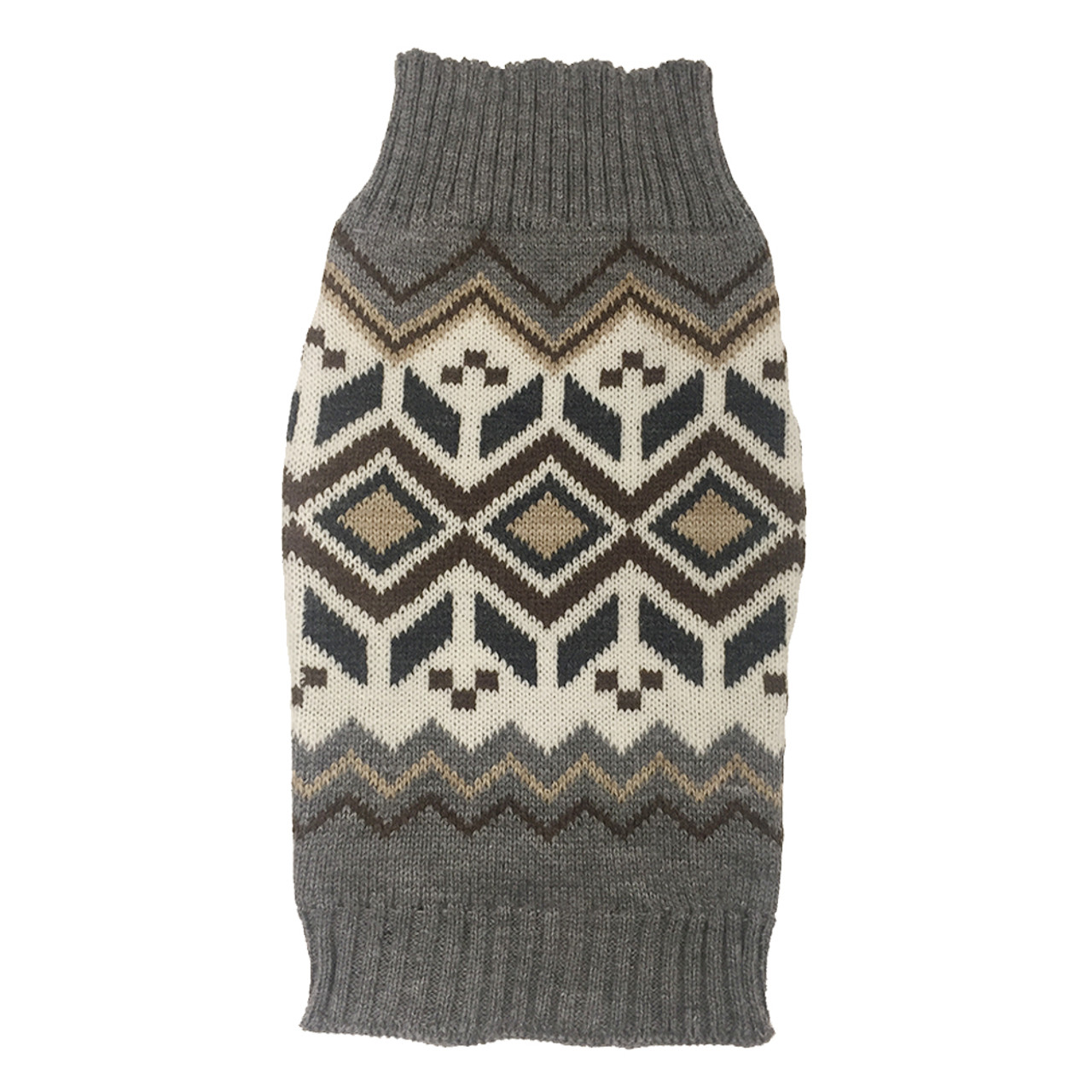 SimplyDog Heather Gray Fair Isle Dog Sweater
