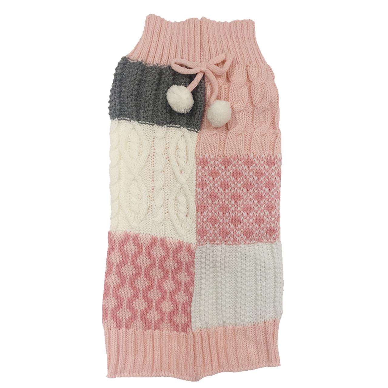 SimplyDog Pink Gray Mixed Knit Dog Sweater