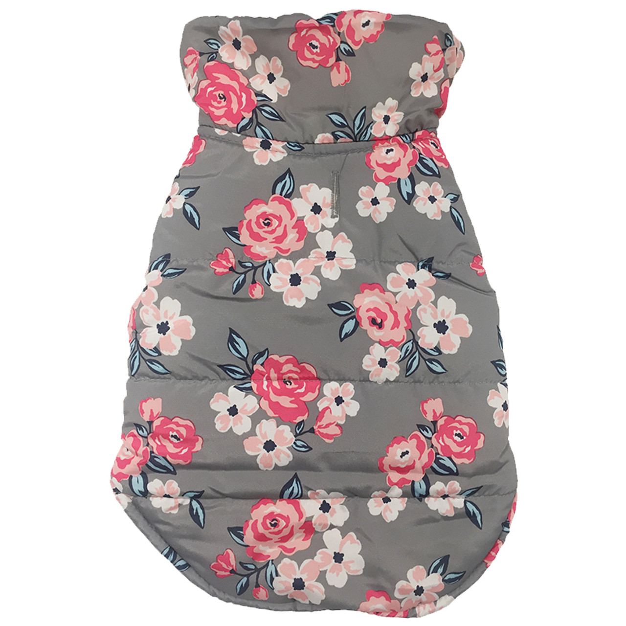 SimplyDog Gray Floral Shearling Wrap Dog Jacket