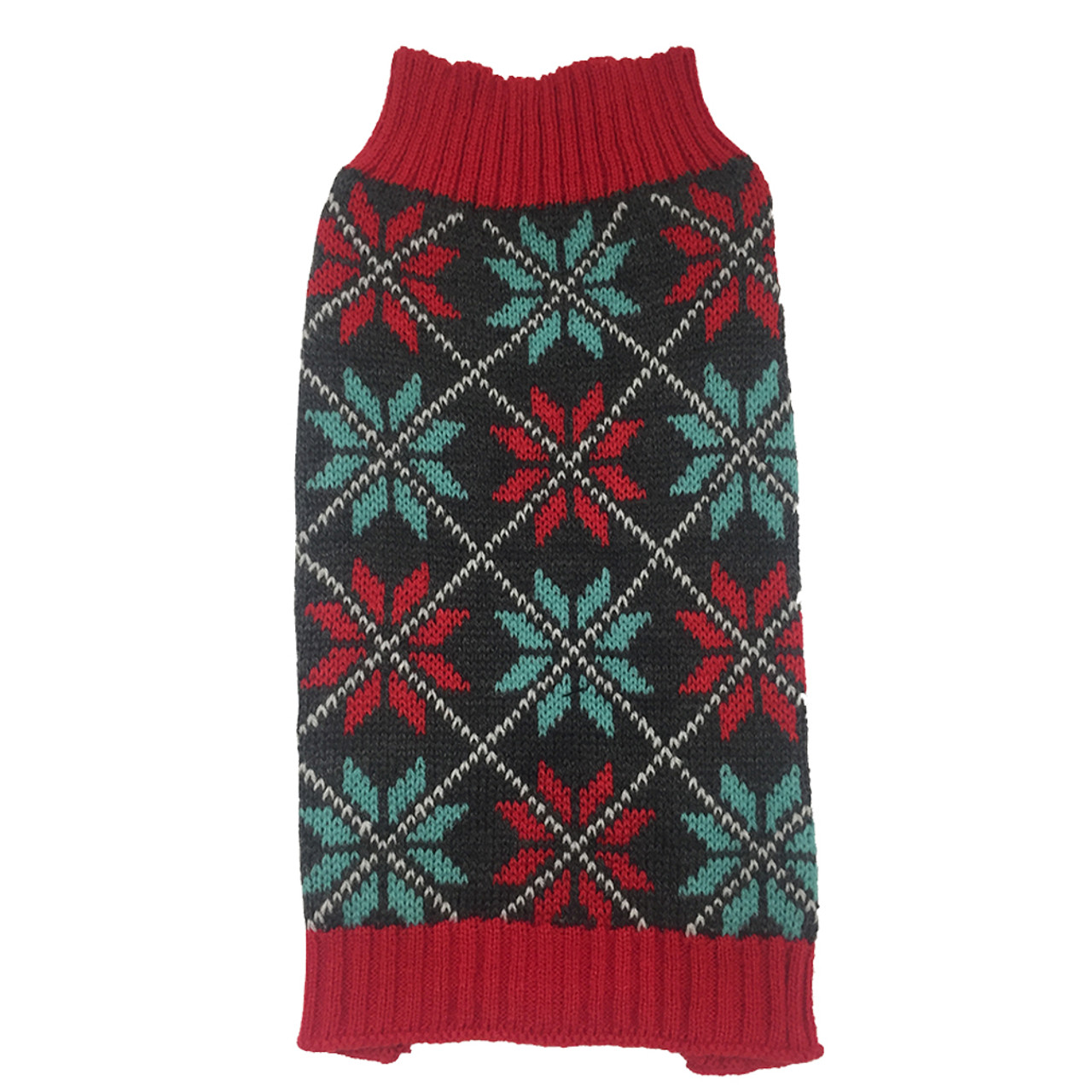SimplyDog Red Snowflake Dog Sweater