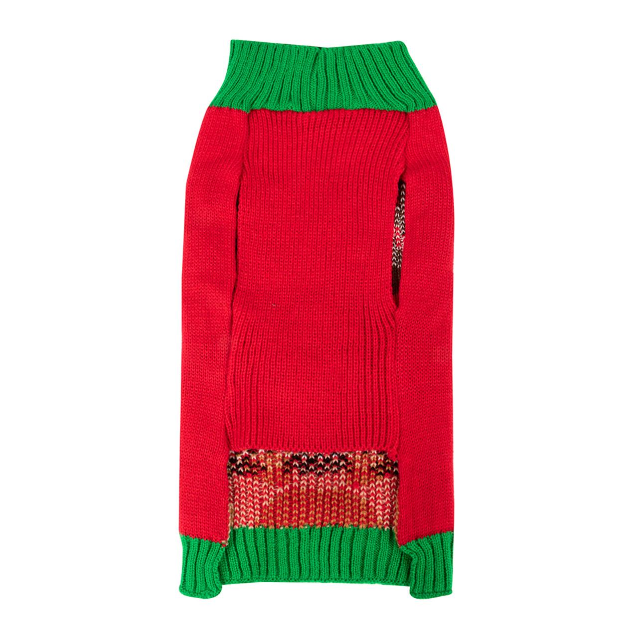 SimplyDog Red Green Peeking Reindeer Dog Sweater