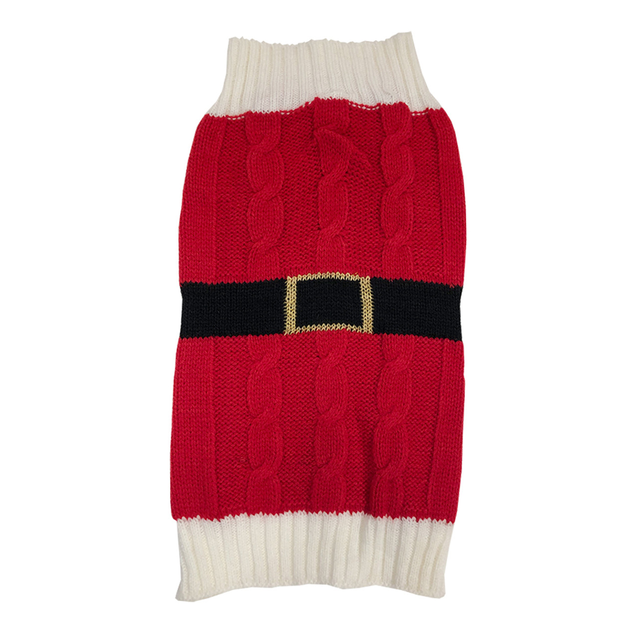 SimplyDog Red Cable Knit Santa Belt Dog Sweater