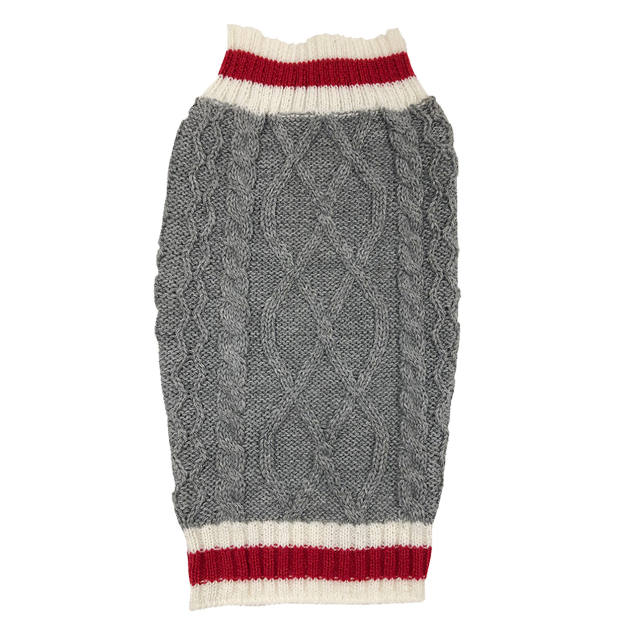SimplyDog Gray Cable Knit Stripe Dog Sweater