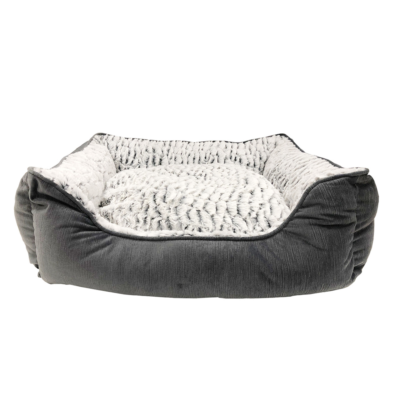Pure Comfort Faux Fur Gray Modern Pet Bed