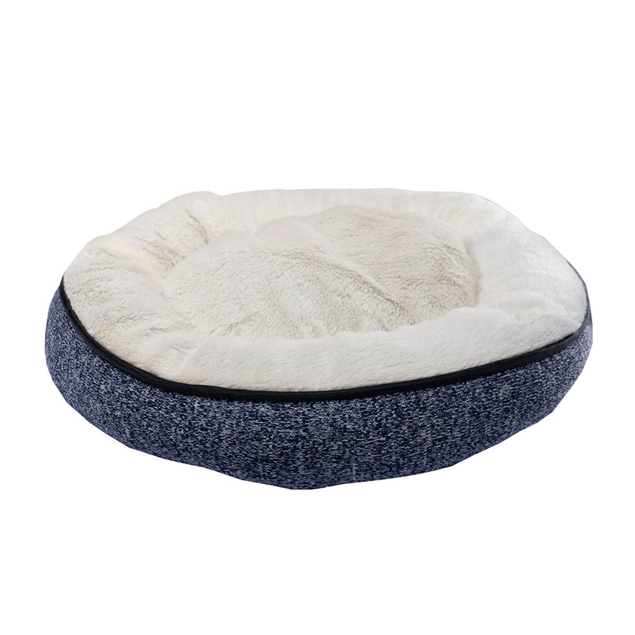 Pure Comfort Large Round Heathered Navy Knit Pet Bed