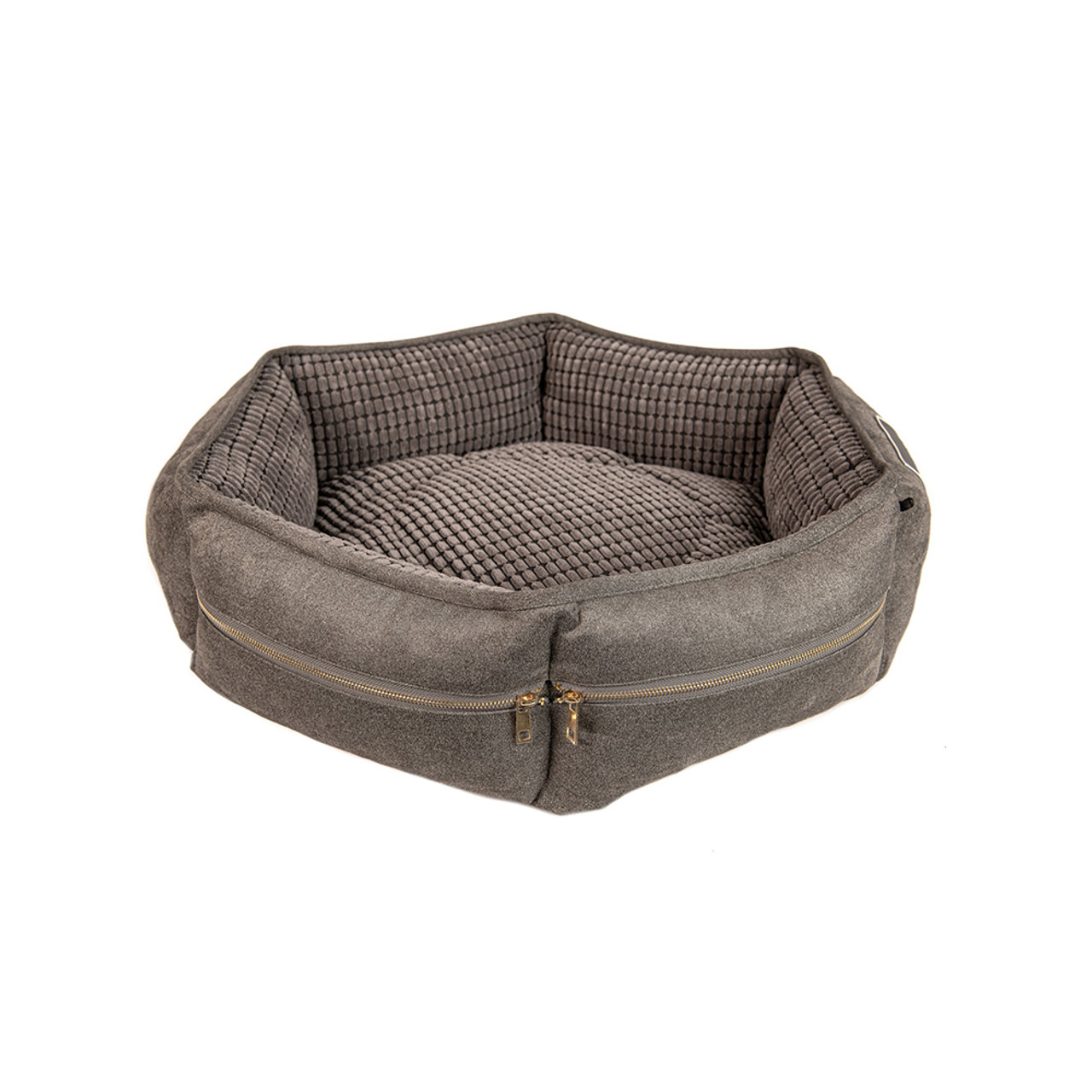 Duke & Lola Zipit Grey Memory Foam Dog Bed