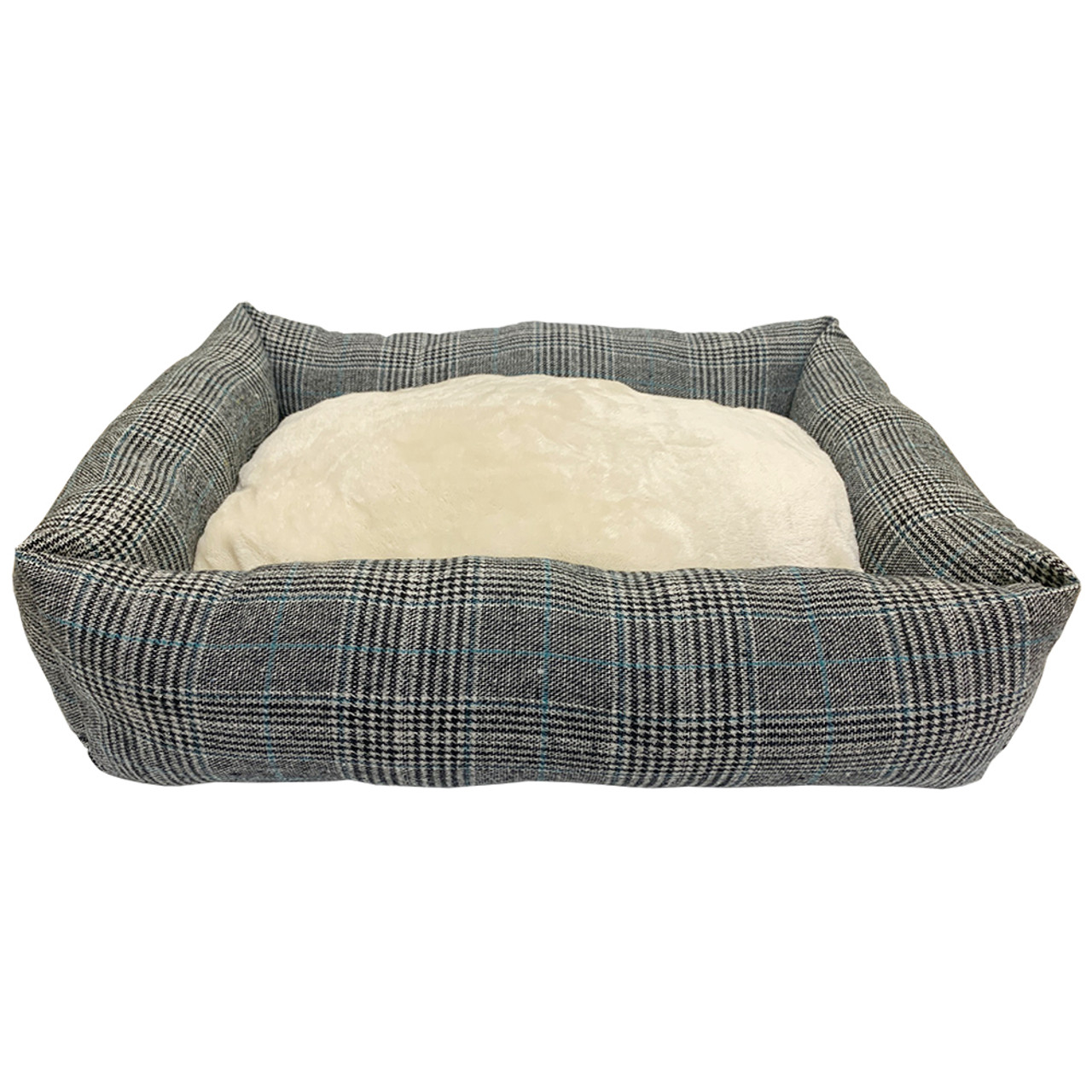 Forever Friends Grey Plaid Cuddler Pet Bed
