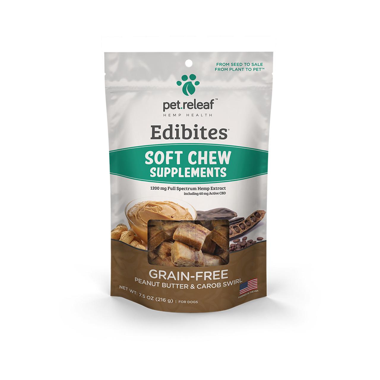 Pet Releaf Edibites Peanut Butter & Carob Swirl Soft Chew Hemp Dog Supplements