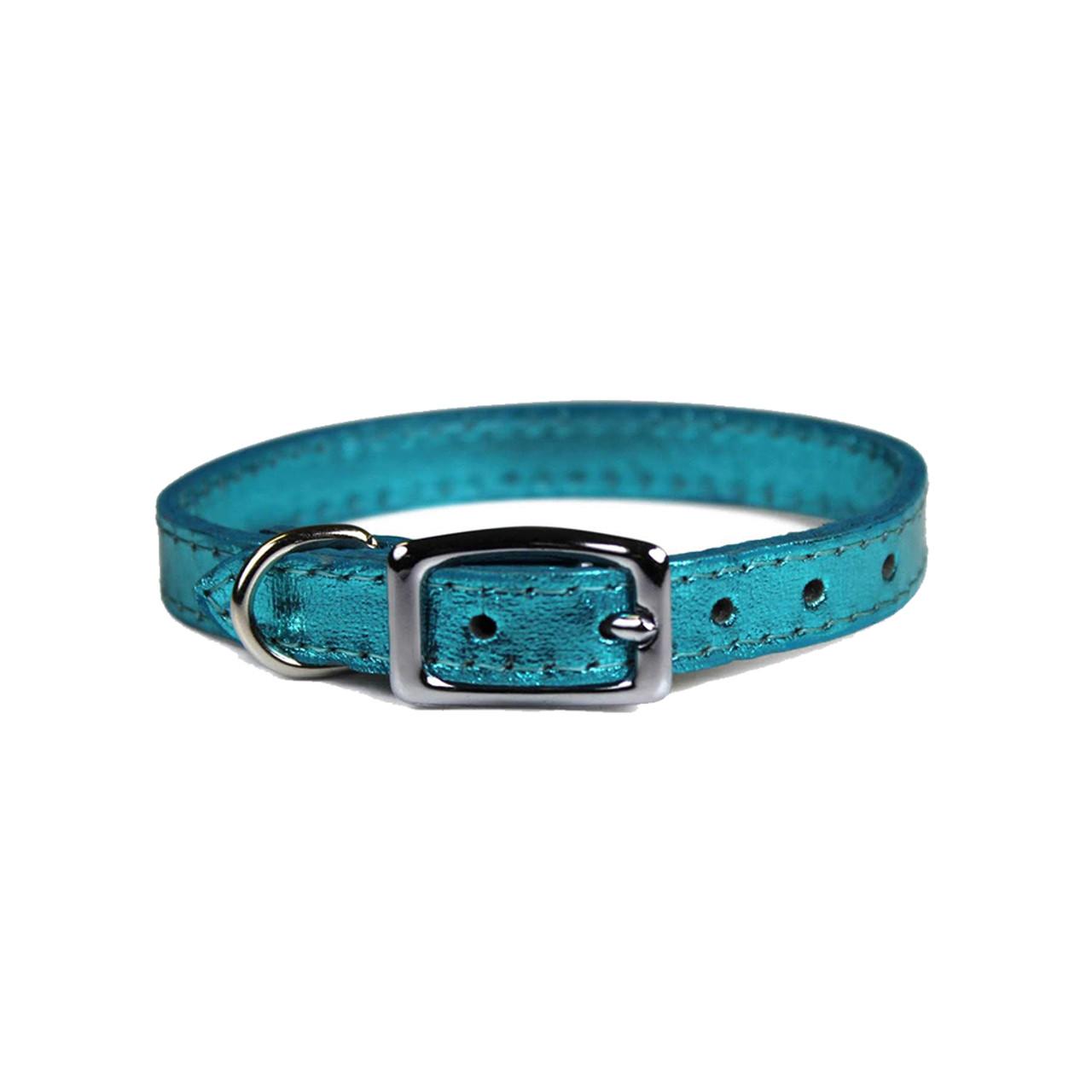 Pocket Pups Metallic Turquoise Small Leather Dog Collar
