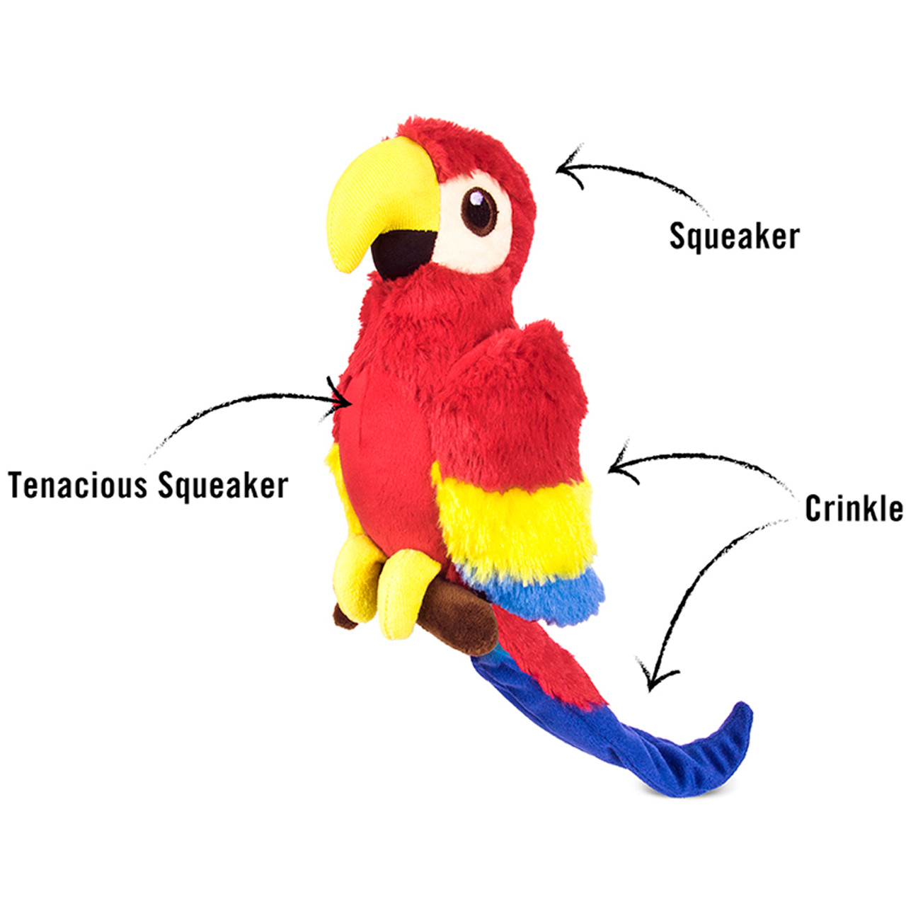 P.L.A.Y. Fletching Flock Tito The Toucan Plush Dog Toy
