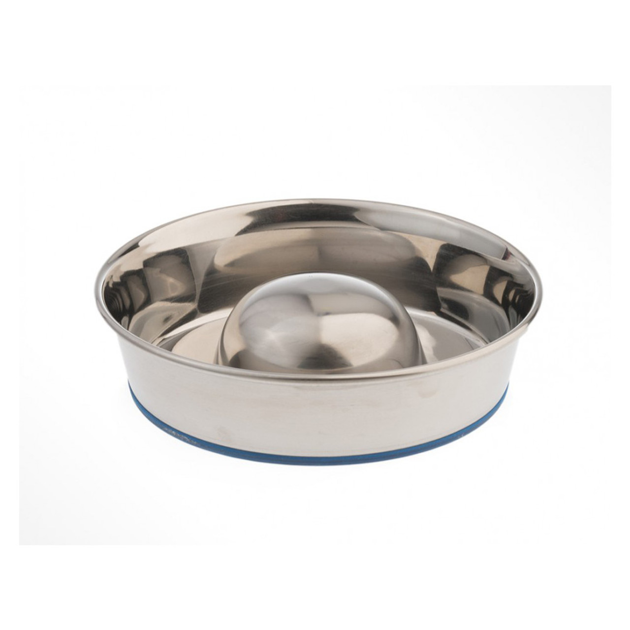 OurPets Premium Rubber-Bonded Stainless Steel Slow Feed Dog Bowl