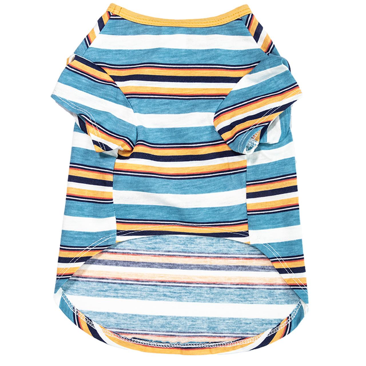 SimplyDog Narrow Stripe Print Pocket Dog T Shirt