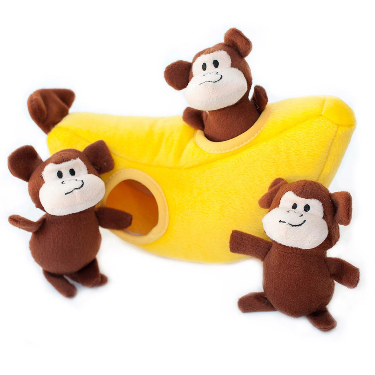 ZippyPaws Zippy Burrow Monkey 'n Banana Plush Puzzle Dog Toy