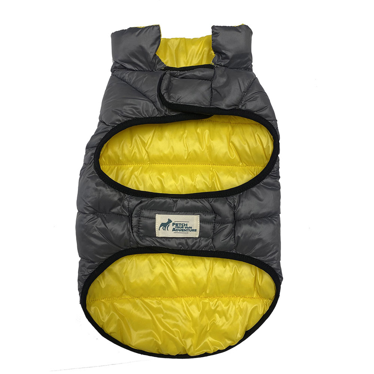 Fetch Your Own Adventure Reversible Yellow & Gray Puffer Dog Coat