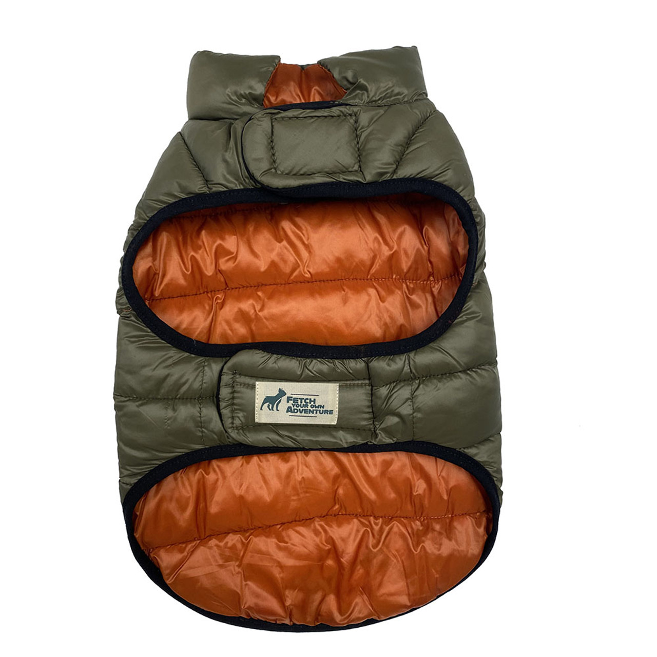 Fetch Your Own Adventure Reversible Orange & Olive Puffer Dog Coat