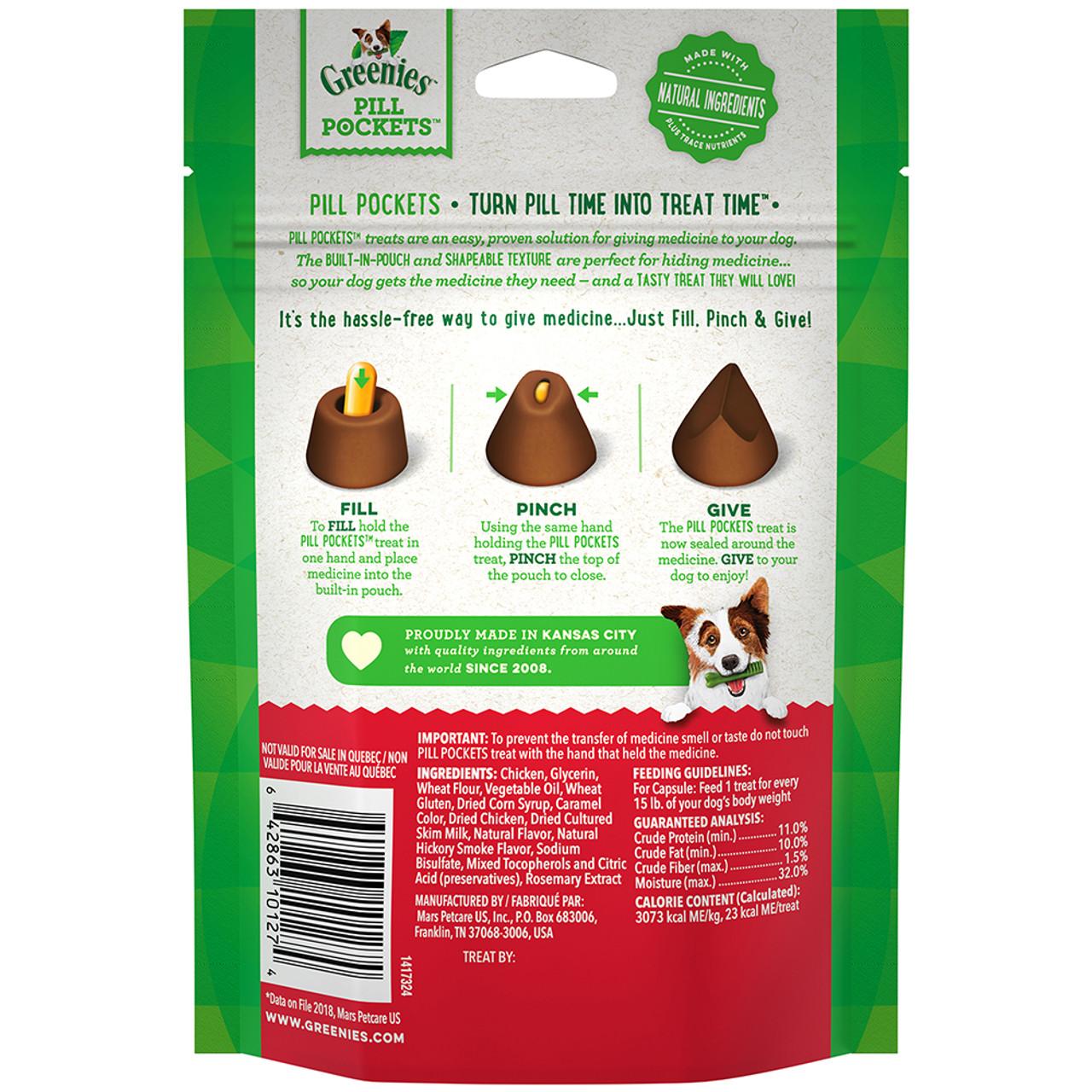 Greenies Original Pill Pockets Hickory Smoke Flavor Dog Treats
