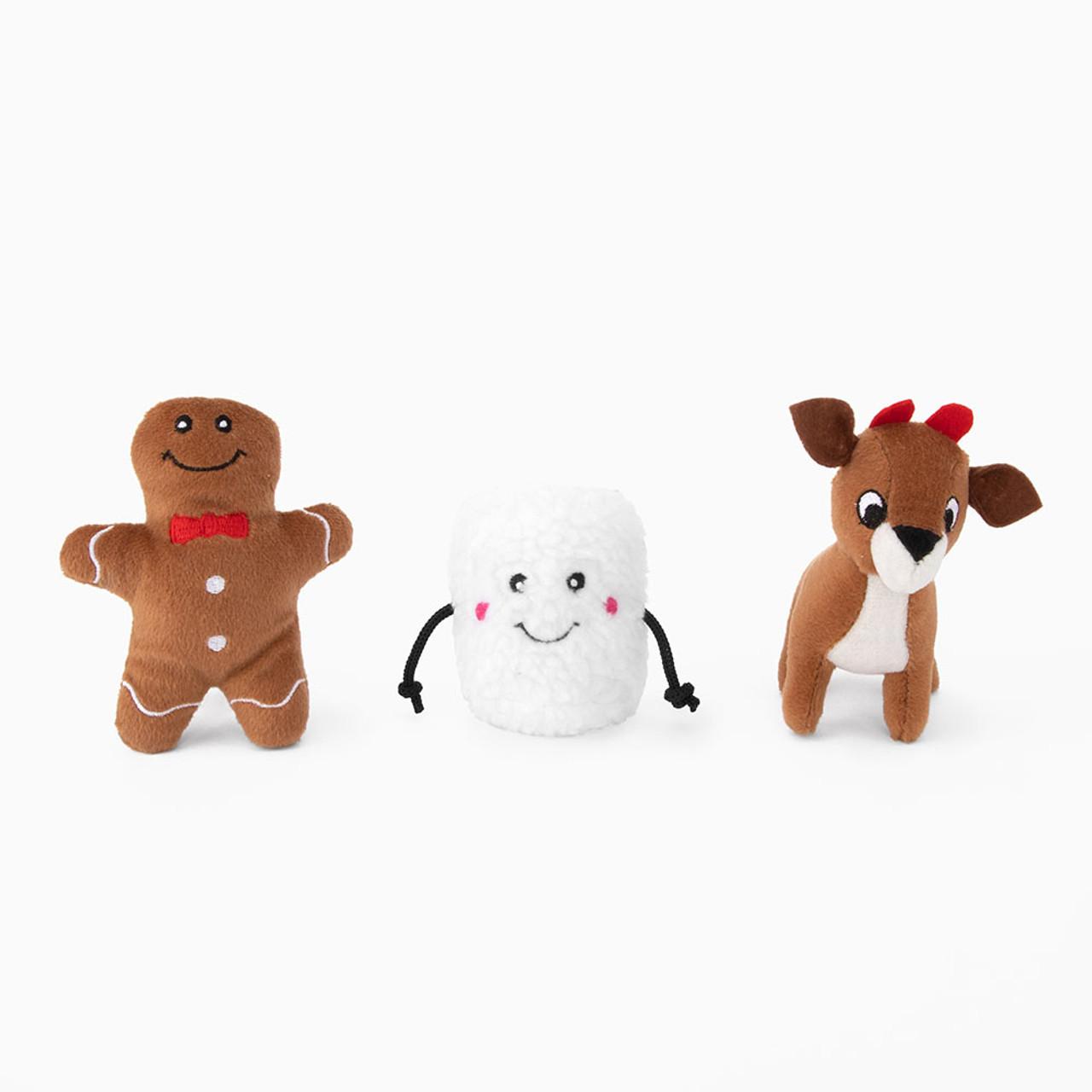 ZippyPaws Christmas Miniz Santa's Friends Plush Squeaky Dog Toy