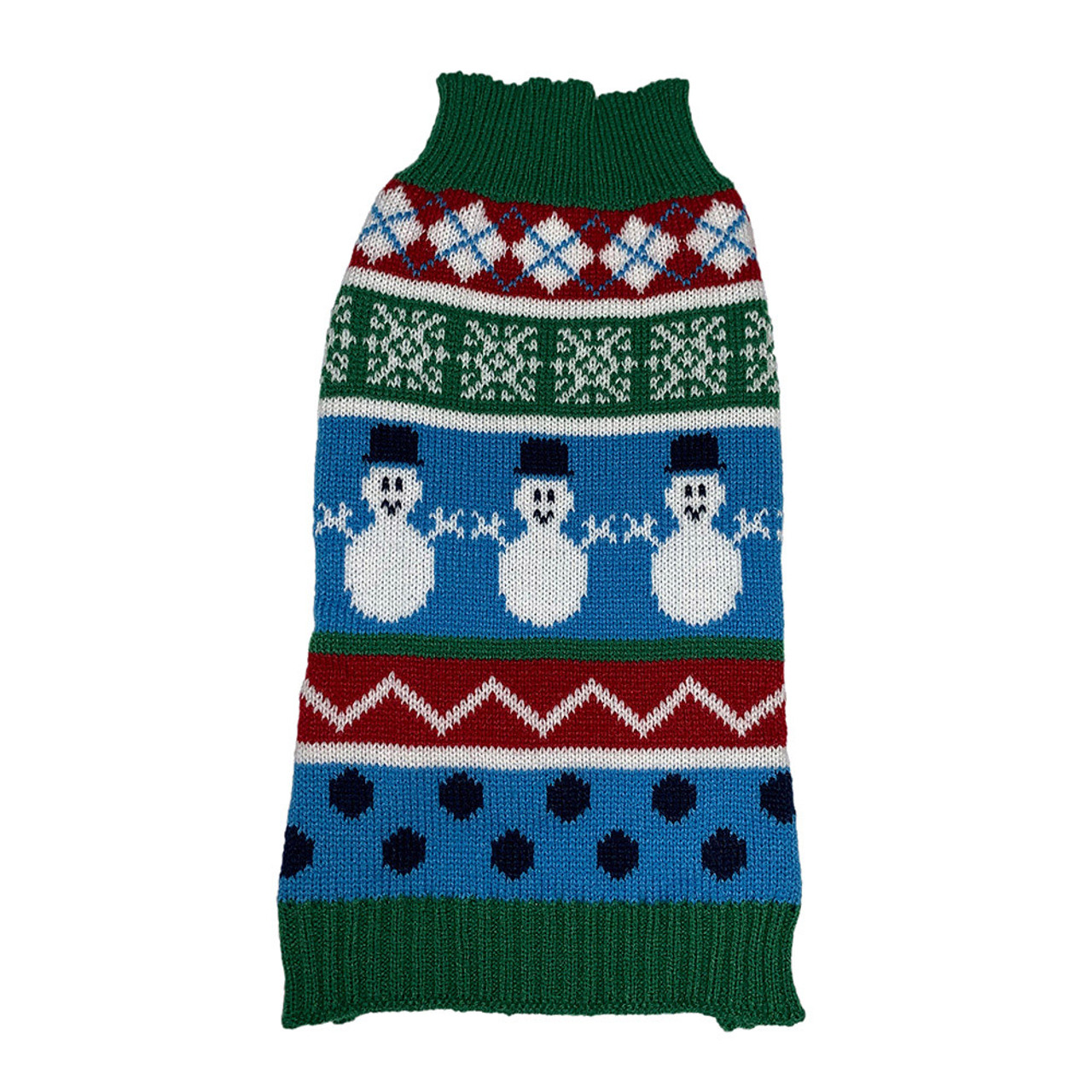 Forever Friends Holiday Snowman Fair Isle Dog Sweater