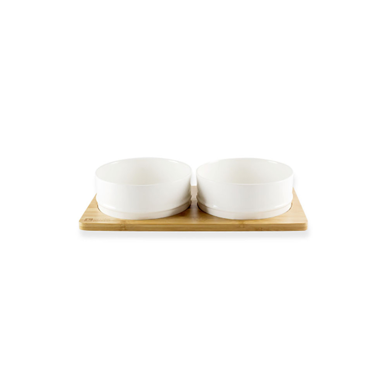 BeOneBreed Duo White Bamboo Dog Bowls