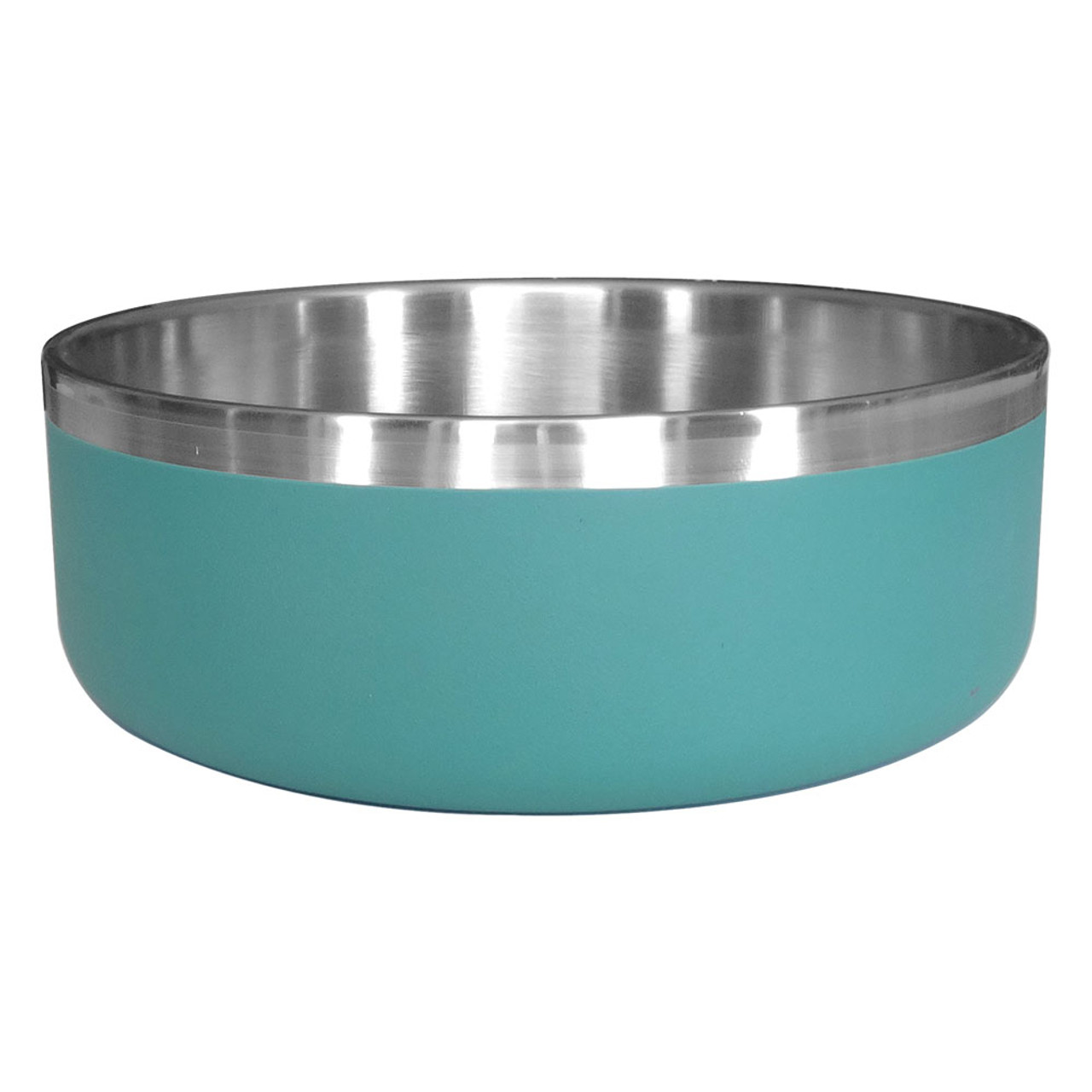 Dineasty Double Wall Stainless Steel w/ Matte Teal Outer Dog Bowl - Front