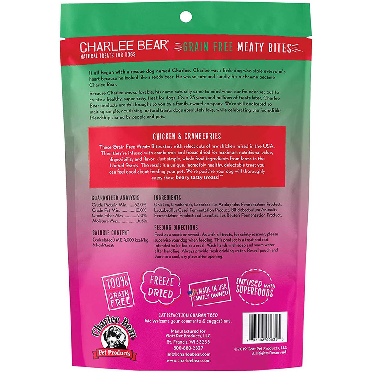 Charlee Bear Meaty Bites Chicken & Cranberry Dog Treats