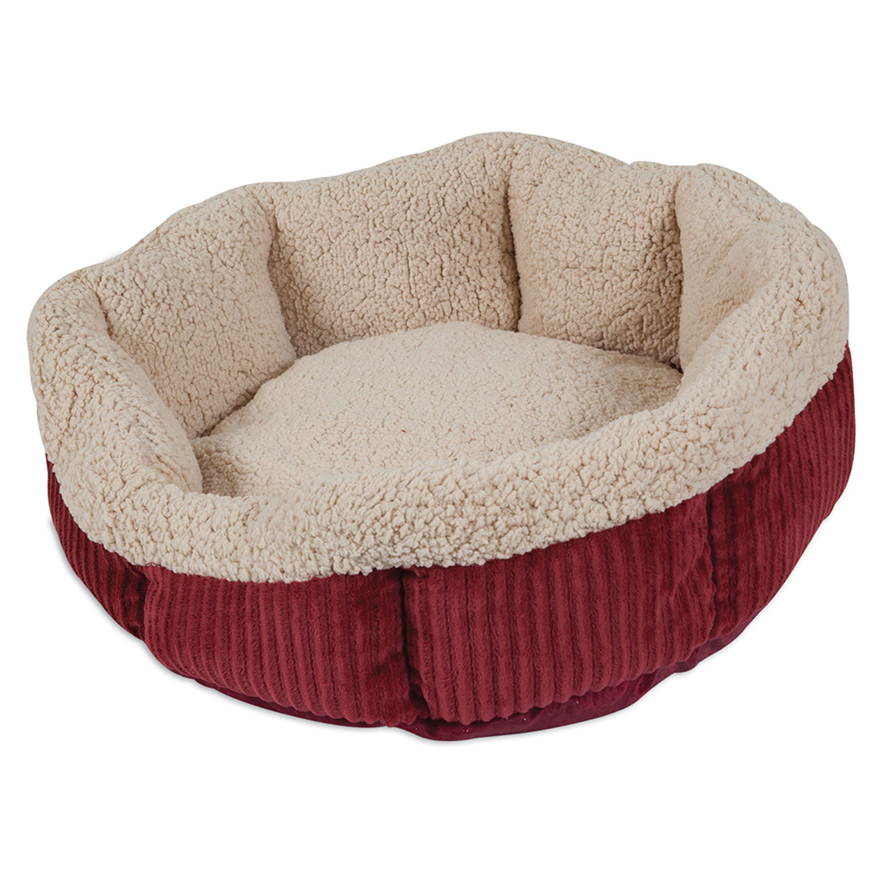 Aspen Pet Self-Warming Corduroy Round Pet Bed