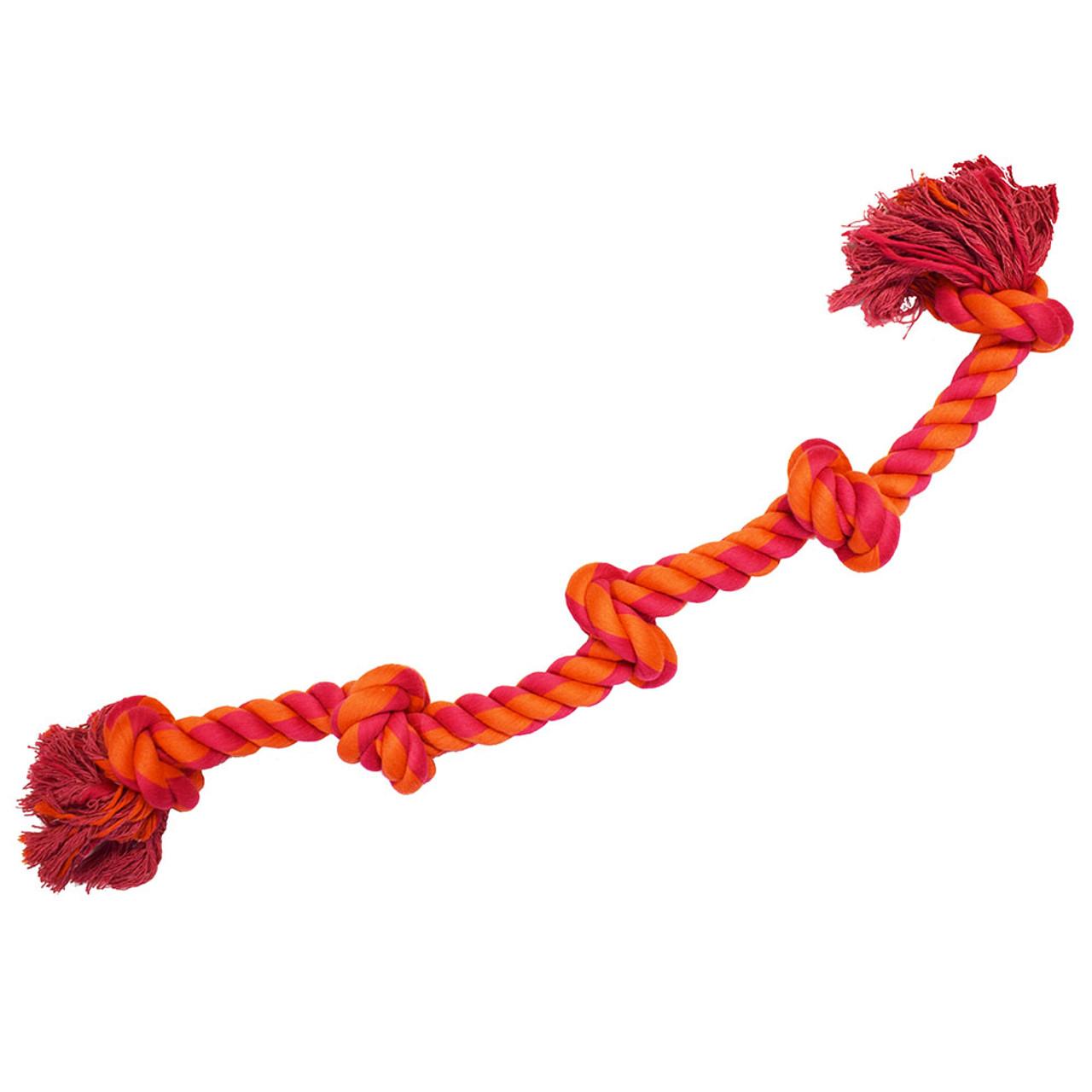 Amazing Pet 5 Knot Rope Dog Toy - Orange & Pink