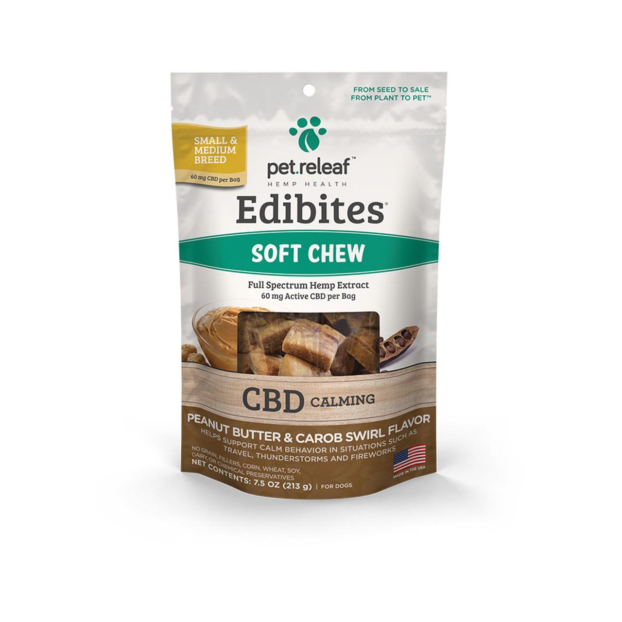Pet Releaf Edibites Peanut Butter & Carob Swirl Soft Chew Hemp Dog Supplements -Front