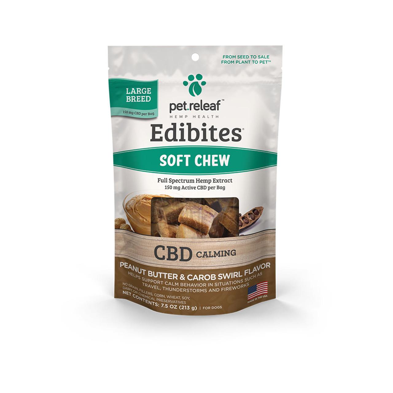 Pet Releaf Edibites Large Breed Peanut Butter & Carob Swirl Soft Chew Hemp Dog Supplements -Front