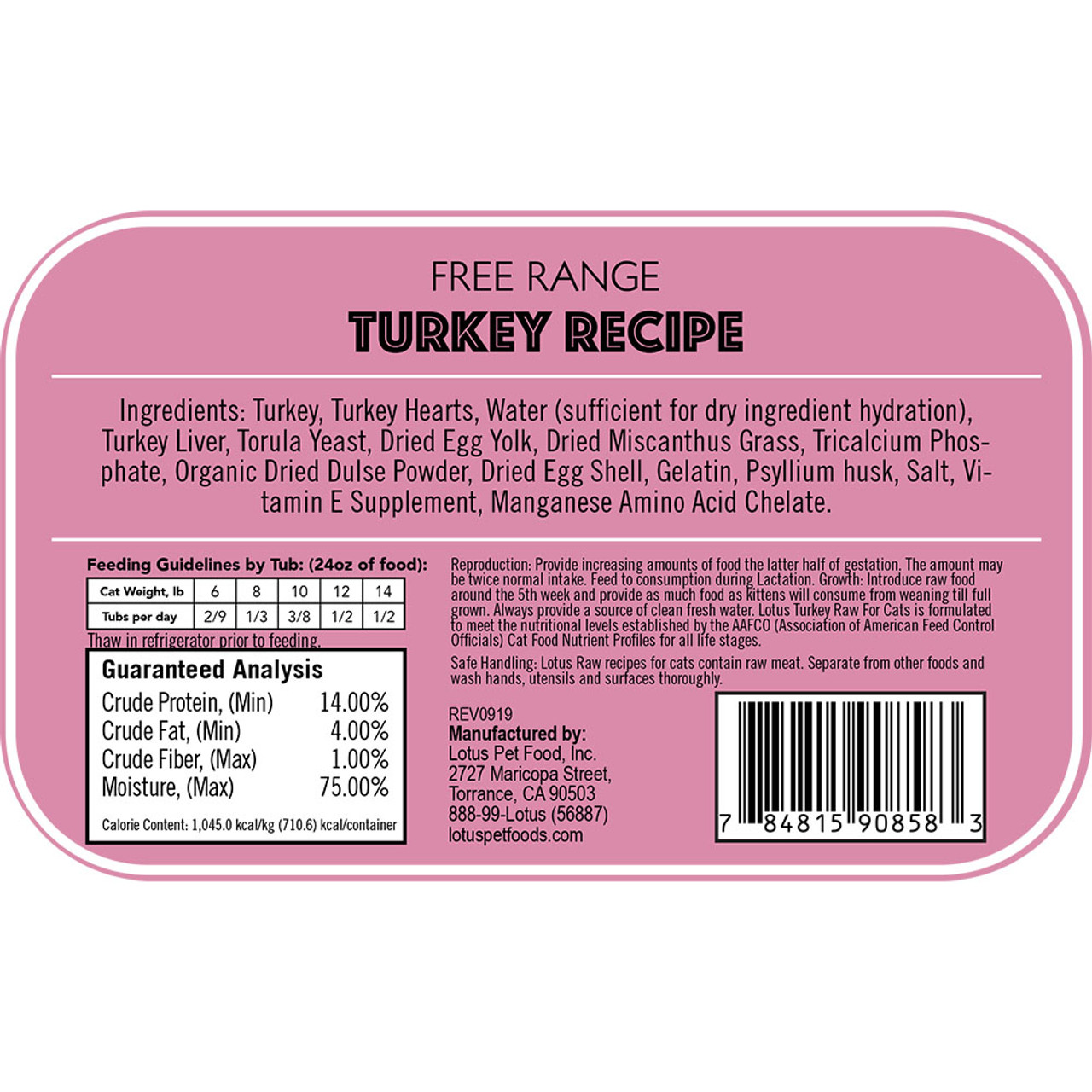 Lotus Raw Free Range Turkey Recipe Cat Food - Back
