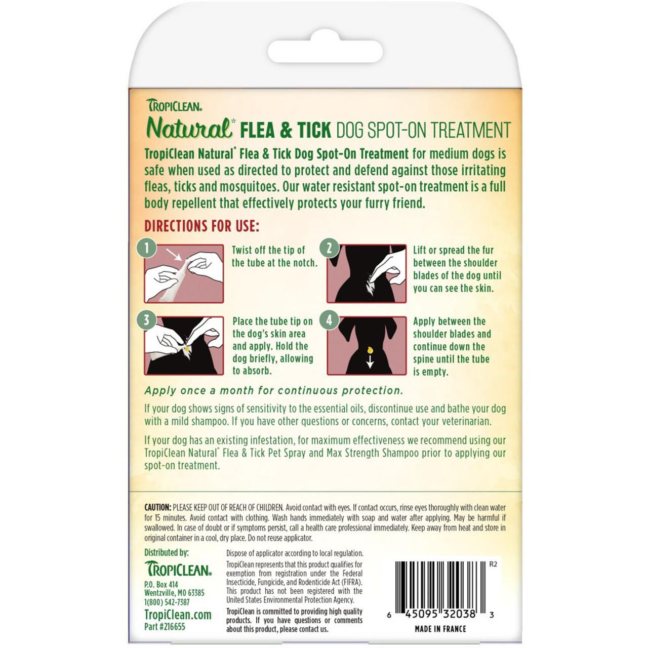 TropiClean Natural Flea & Tick Spot On Treatment for Medium Dogs (35 - 75 lbs) - Back
