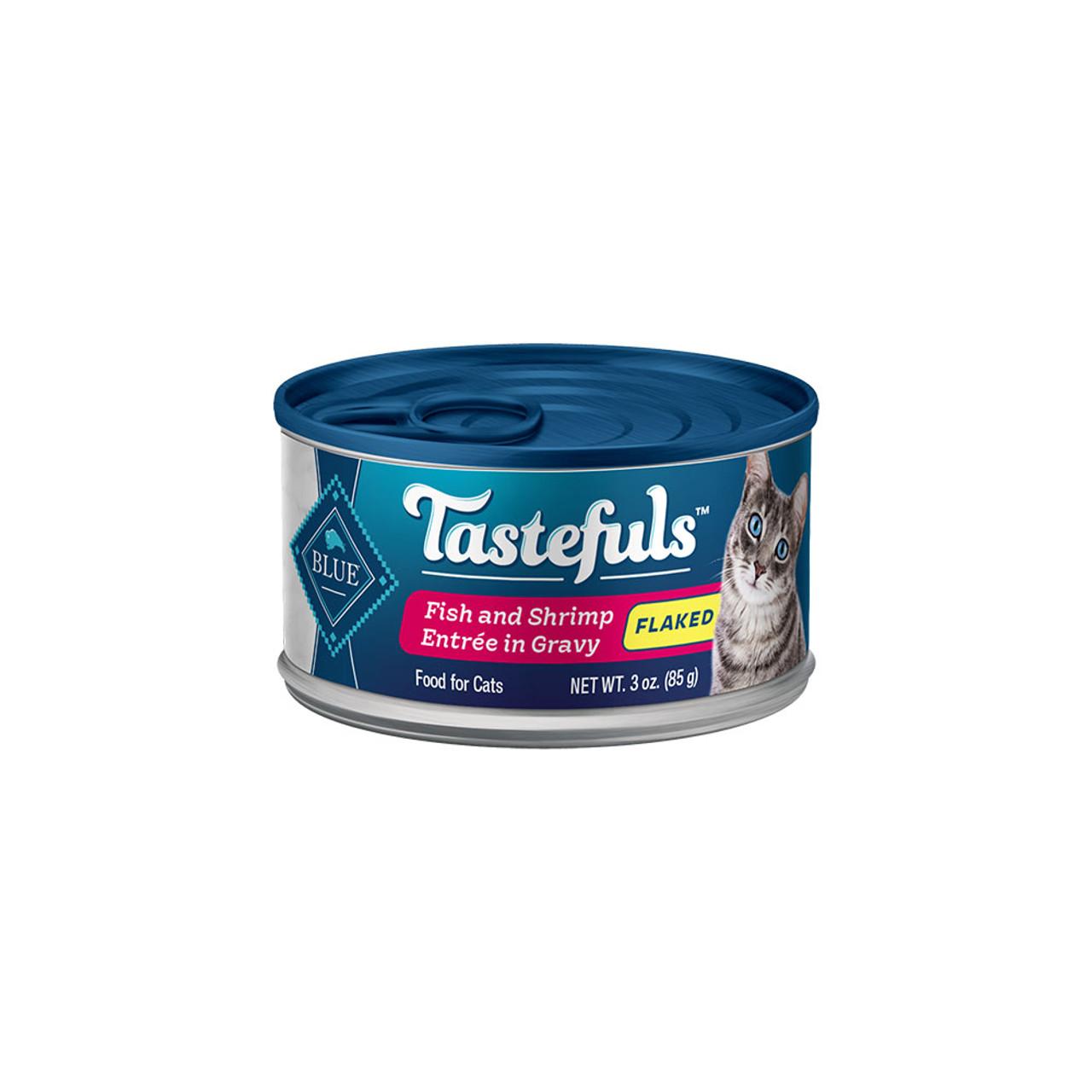 Blue Tastefuls Flaked Fish & Shrimp Entrée in Gravy Canned Cat Food - Front