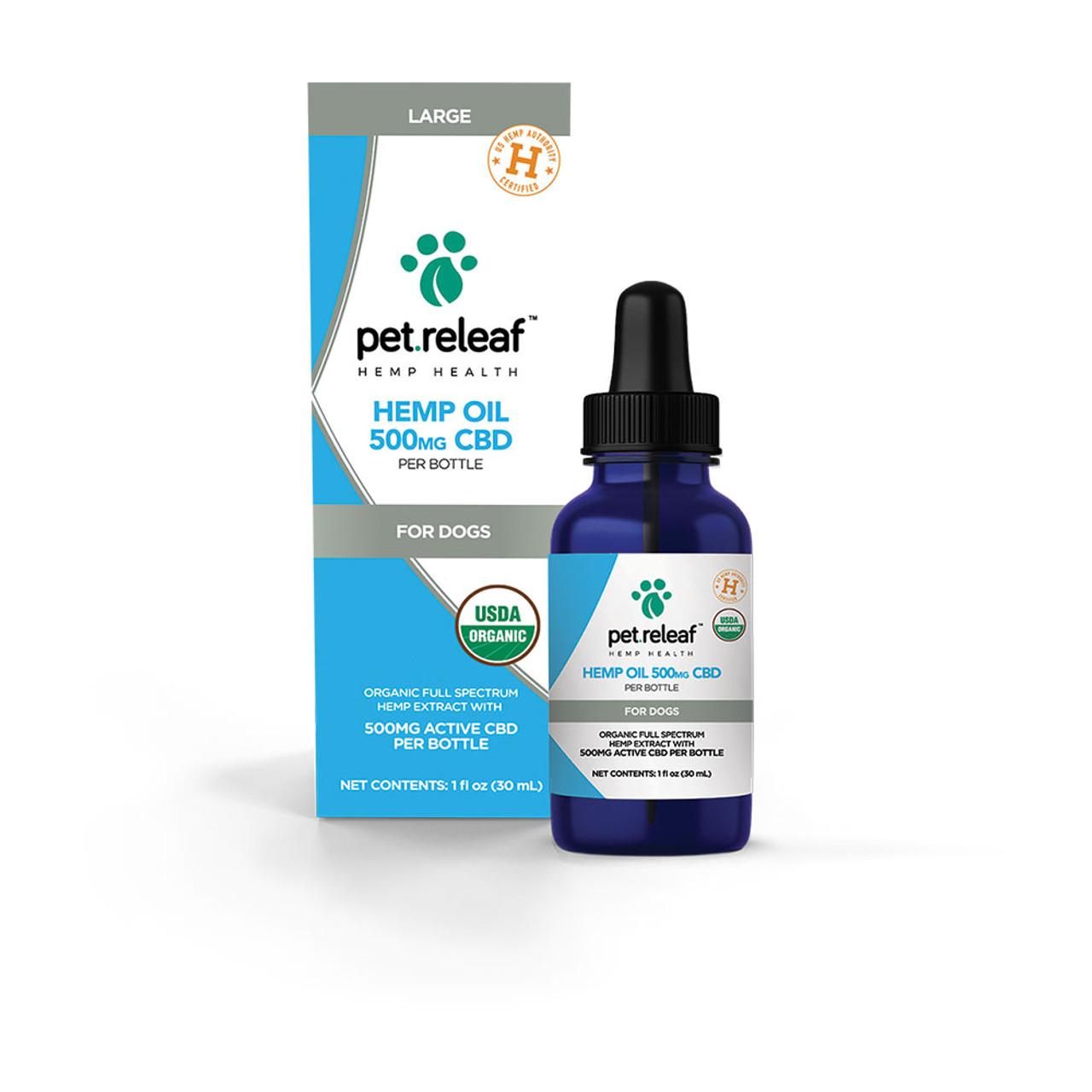 Pet Releaf Organic Full Spectrum Hemp Oil 500mg for Large Dogs - Front